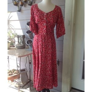 Vintage red Floral Rayon Midi tea length dress